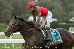 Flat Out and Joel Rosario after winning the Jockey Club Gold Cup