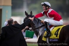 Brian Hernandez Jr. accepts congratulations from trainer Ian Wilkes for Fort Larned's BC Classic win