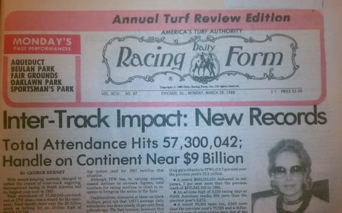 1987 Daily Racing Form; trends in racing