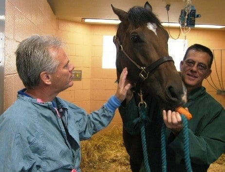 Ray Paulick with Barbaro, Dr. Dean Richardson