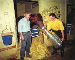 Eddie Olczyk with Nick Zito, Go For Gin, and the Stanley Cup