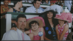 Hope Hudson (2nd from left) and her family enjoying Derby Day