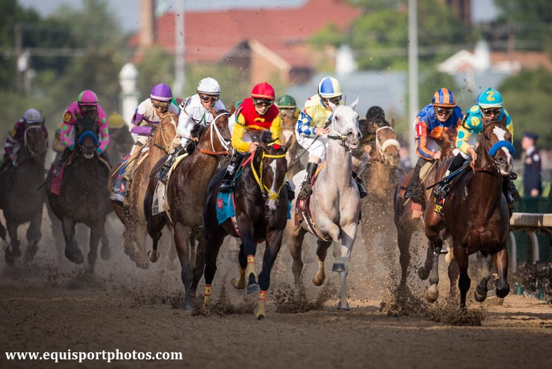 Kentucky Derby field charging down the stretch