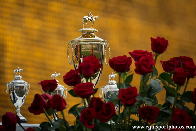 Kentucky Derby trophy and roses