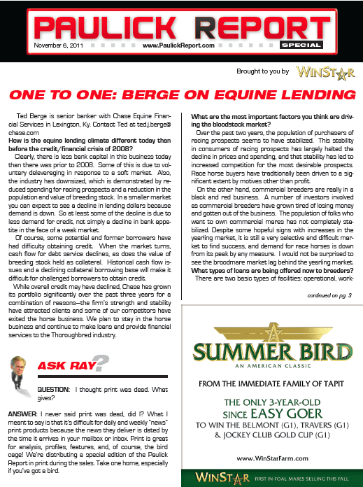 Paulick Report in Print: Special Sales Edition Day 1 - Horse