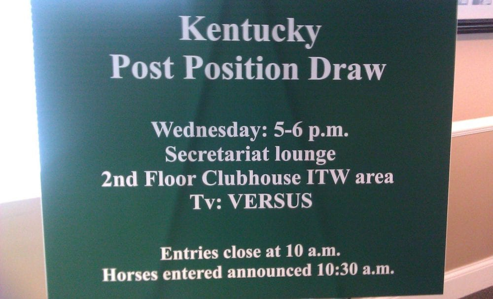 Post Position Draw Sign