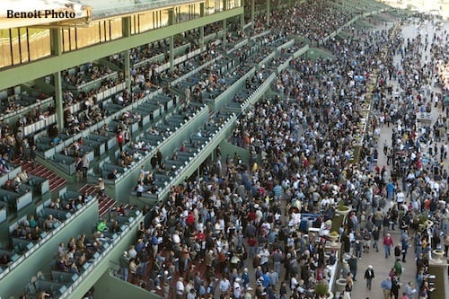 Santa Anita's opening day crowds are betting less money on average
