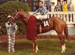 Secretariat, Eddie Sweat, and Ron Turcotte in the KY Derby winner's circle.