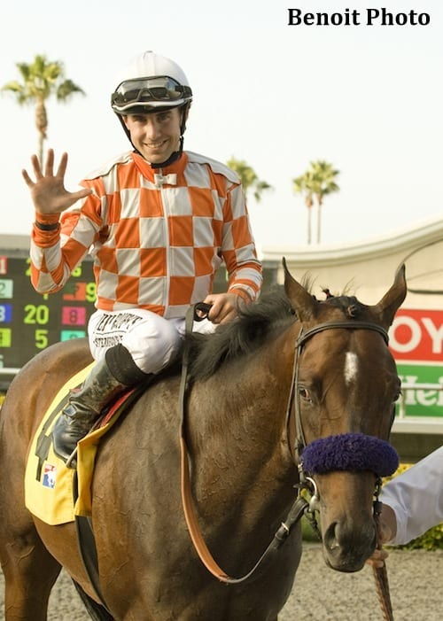 Joe Talamo, with his fifth winner on Thursday's eight-race card at Del Mar