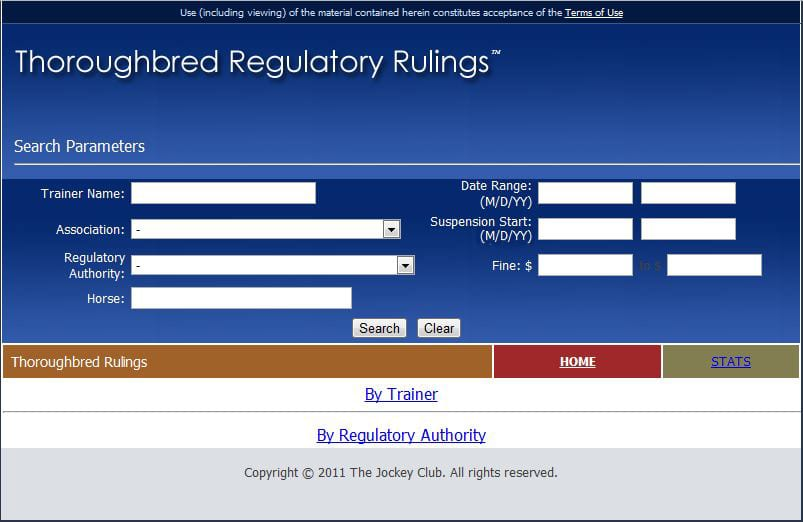 Thoroughbred Regulatory Rulings