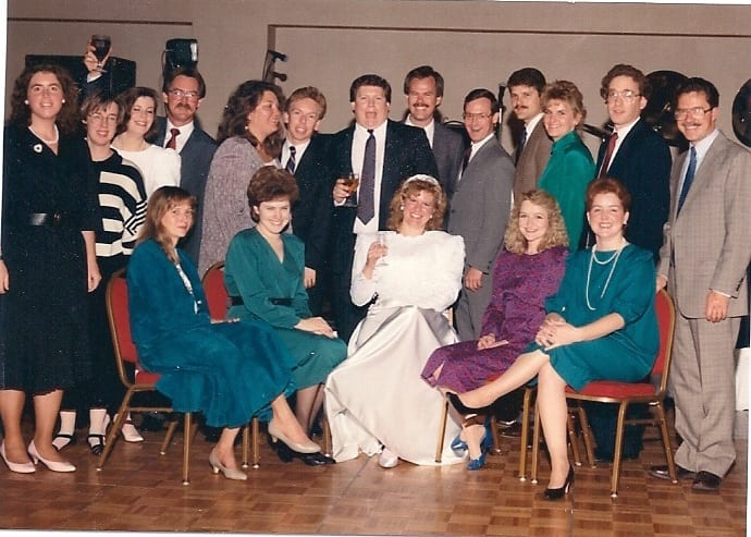 Thoroughbred Times staff gathered for a colleague's wedding, circa 1990. One constant since the magazine launched in 1985 was editor Mark Simon, second from right.
