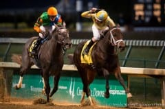Frac Daddy (outside) finishes 2nd in the Kentucky Jockey Club Stakes