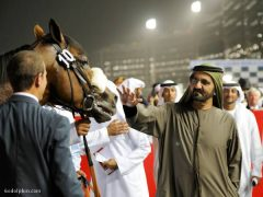 Sheikh Mohammed greets Opinion Poll in winner's circle at Meydan