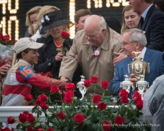 Joel Rosario, Dinny Phipps, and Shug McGaughey after Orb's Kentucky Derby win