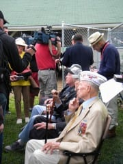 Normandy Invasion veterans greet the media after meeting the Kentucky Derby contender named in their honor