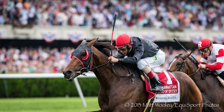 Point of Entry (Dynaformer) wins The Woodford Reserve Manhattan at Belmont Park on 6.8.2013.
