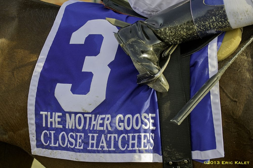 Close Hatches, Joel Rosario up, wins the GI Mother Goose Stakes at Belmont Park in Elmont, New York.
