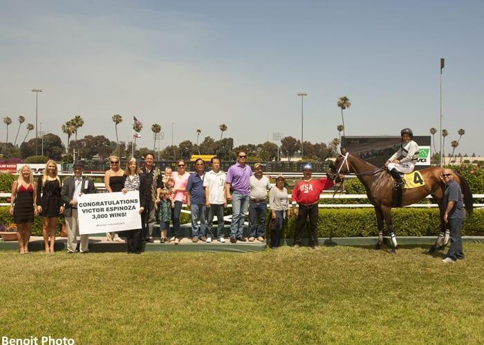 Victor Espinoza rode his 3,000th winner May 31 at Betfair Hollywood Park