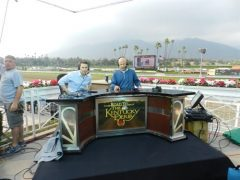 Laffit Pincay III and Randy Moss on the set of NBC's Road to the Kentucky Derby coverage at Santa Anita