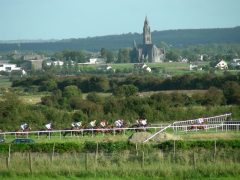 Horses race in front of a beautiful backdrop in Roscommon, Ireland