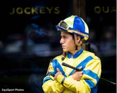 Luis Contreras waits before a race at Keeneland