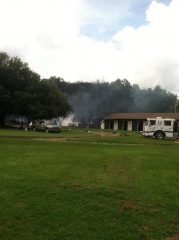 Aftermath of the fire at the Dogwood Stables barn at the Aiken Training Track via @BradShuler