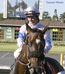 Russell Baze, after  scoring career win No. 12,000 at Pleasanton aboard Handful of Pearls.