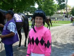 Jockey Rosie Napravnik before the first race of opening day