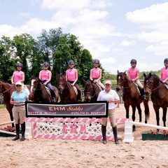 Some of the OTTBs competing for EHM Stables this weekend are (from left) Powered by Love, Cayman Condo, Baltimore Raven, Prideland, Saratoga Jet, and Oregon Ridge.