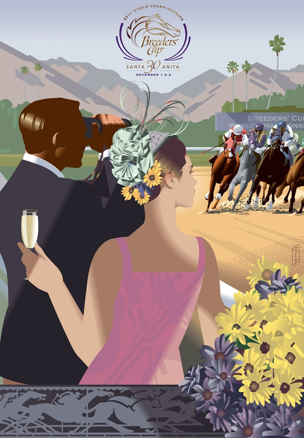 Vintage-inspired art deco image by John Mattos commemorating the 30th anniversary of the Breeders' Cup