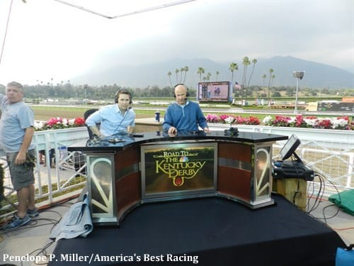 Laffit Pincay III and Randy Moss on set at Santa Anita Park