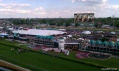 Rendering of how Churchill Downs will look once the 'Big Board' is installed at the facility