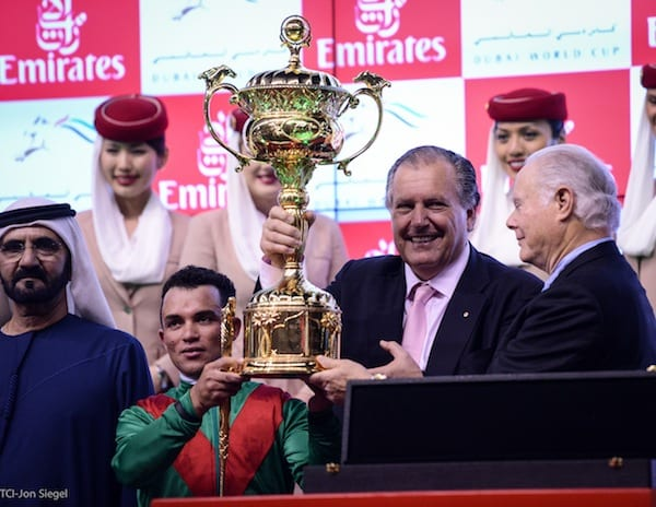 Connections of Animal Kingdom celebrate his victory in the 2013 Dubai World Cup. (L-R) Sheikh Mohammed, Joel Rosario, John Messara, Barry Irwin