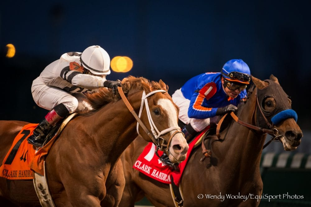 Will Take Charge defeated Game On Dude in the 2013 Clark Handicap on his way to being named Champion 3yo colt