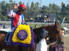 Rajiv Maragh celebrates aboard Groupie Doll after they won their 2nd straight BC Filly & Mare Sprint