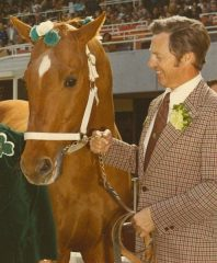 Kjell Qvale, with the legendary Silky Sullivan at Golden Gate Fields during a St. Patrick's Day appearance