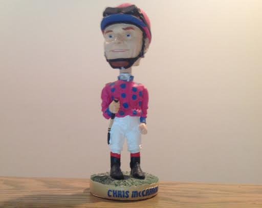 A Chris McCarron bobblehead was among the freebies given away over the years at Hollywood Park
