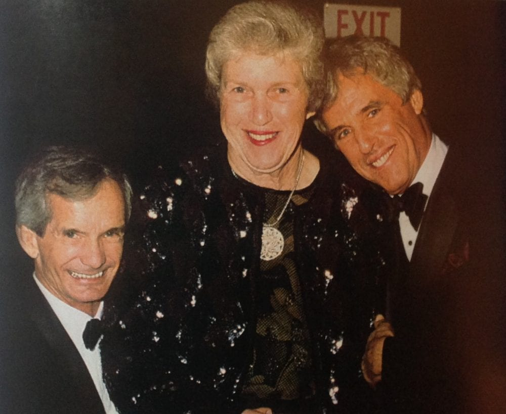Former Hollywood Park executive Marjorie Everett with Hall of Fame jockey Bill Shoemaker and songwriter Burt Bacharach