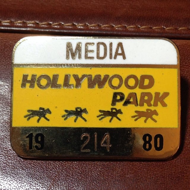 1980 Hollywood Park media pin, the first media credential issued to Ray Paulick after he started covering horse racing.
