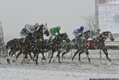 Snowfall at Parx Racing on Dec. 8, 2013