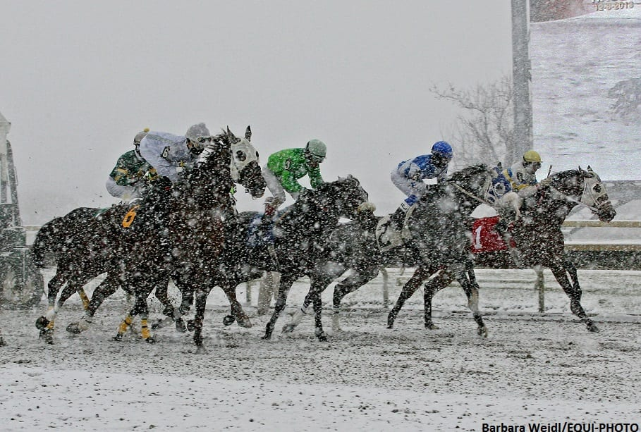 Snowfall at Parx Racing on Dec. 8, 2013