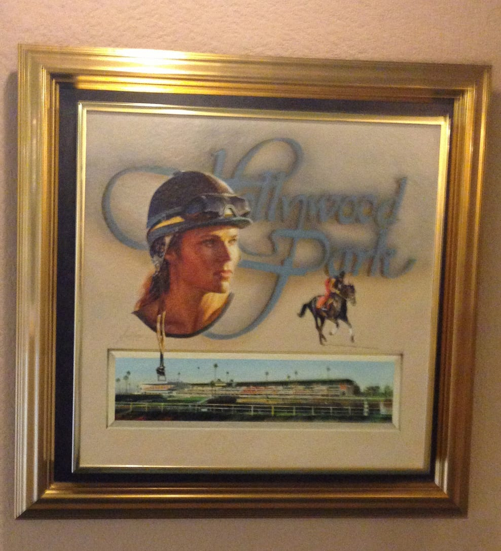 The painting of Cheri Iozzia Von Platen that hung in the Hollywood Park Turf Club is now missing