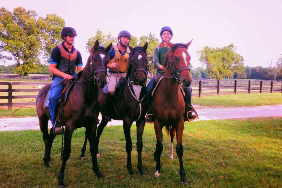 Australians Dan James (middle) and Dan Steers, of Double Dan Horsemanship, are working with yearlings at Taylor Made and WinStar
