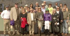 Trainer Art Sherman, jockey Victor Espinoza and connections in winners' circle of San Felipe Stakes