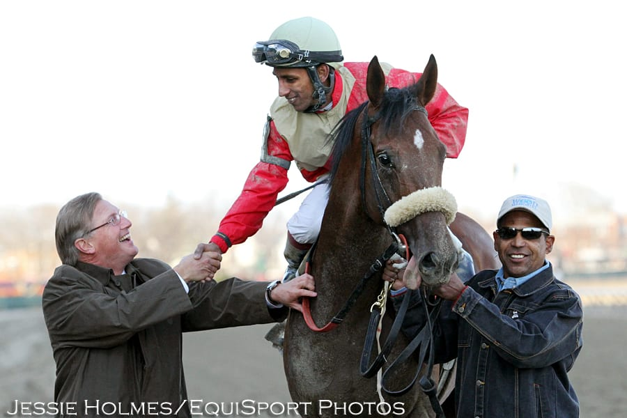 Rajiv Maragh gets congratulated after Wicked Strong wins the Wood Memorial