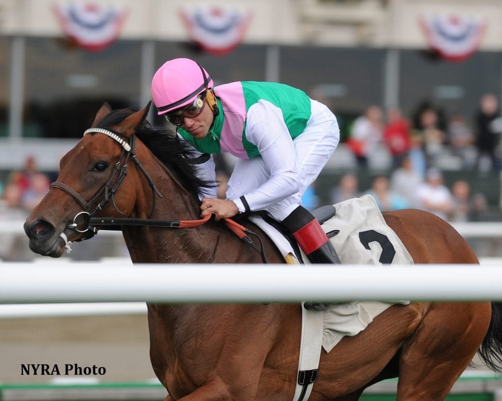 Riposte wins the Grade 2 Sheepshead Bay Stakes at Belmont Park on May 24.