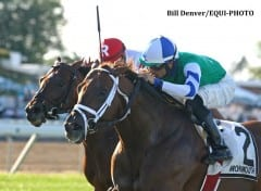 Winning Cause (inside) holds off Big Blue Kitten to win the Cliff Hanger Stakes.