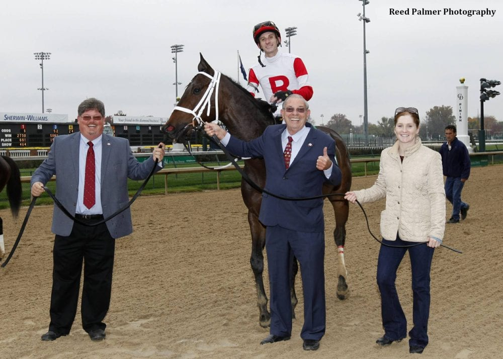 Ken Ramsey and son, Jeff lead in Sandbar after winning their 400th race at Churchill Downs