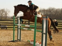 Rachel and Rebel clear a four-foot-two-inch jump during the puissance at Team CEO