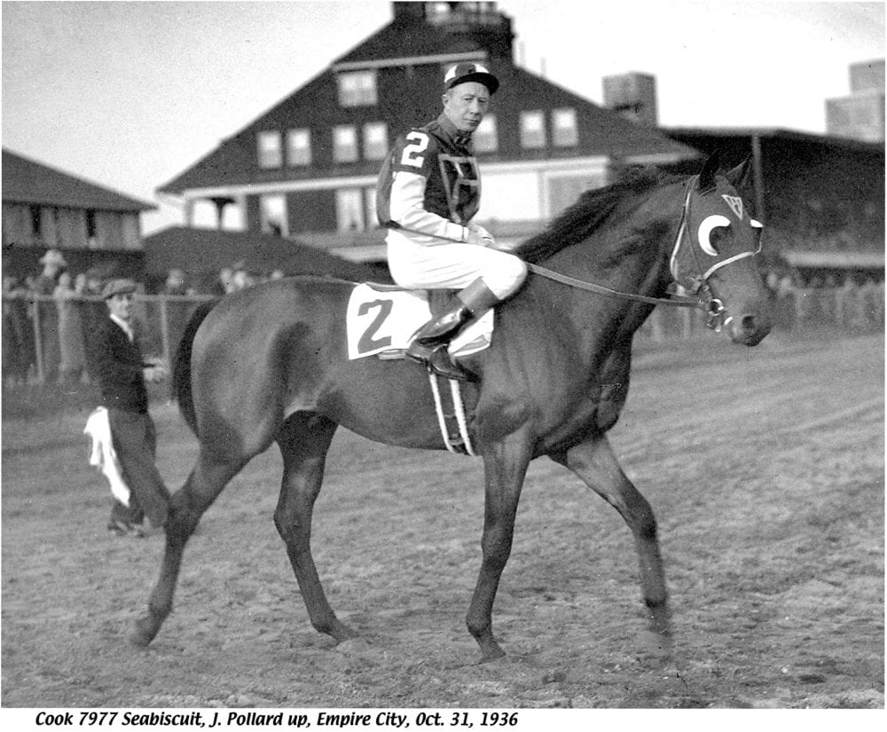Seabiscuit, shown here with Red Pollard aboard.